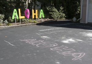 Aloha signs to the brunch in Myra and Reivan's back yard