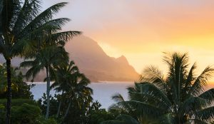 Monday night was the first decent sunset over Hanalei Bay and Bali Hai in the week since we'd been on island